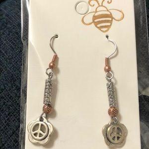 Flower peace sign hippie earrings